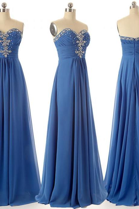 A27 Sweetheart Beaded Floor-Length prom Dress,A Line Evening Gowns,Real Photos Bridesmaid Dress