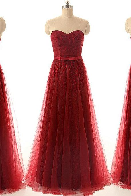 A30 Burgundy Long Lace Prom Dress,Sweetheart Evening Gowns,Real Photos Bridesmaid Dress