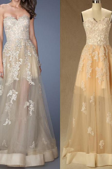 A32 Sexy See-Through Champagne Long prom Gowns, Real Photos Lace Appliques Evening Gowns