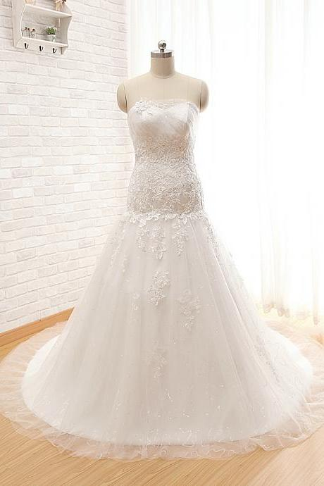 A34 Real photos Strapless Wedding Bridal Gowns,New Charming Princess Wedding Dresses