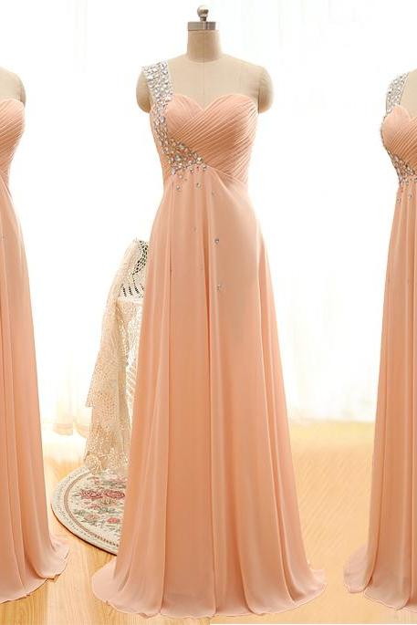 A35 Handmade Beaded One Shoulder Bridesmaid Dress,Empire Prom Gowns