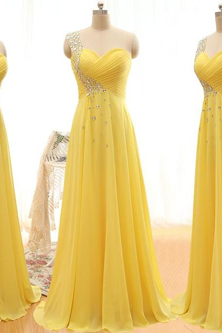 A37 Real Photos One Shoulder Yellow Prom Gowns, Bridesmaid Dresses Long