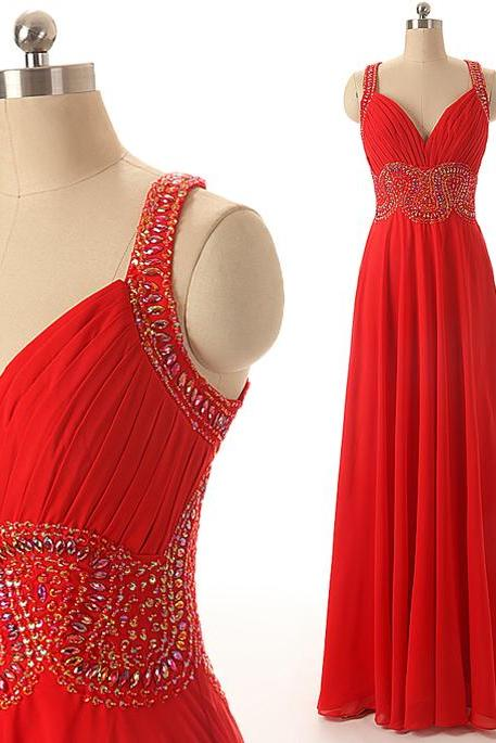 A38 Spaghetti Straps Empire Long Prom Gowns,Handmade Beaded Long Evening Dress