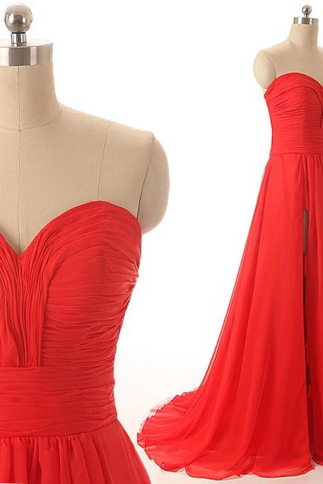 A40 Sweetheart Pleat Hot Red Long Chiffon Prom Gowns,A Line Evening Gowns,Real Photos Bridesmaid Dress