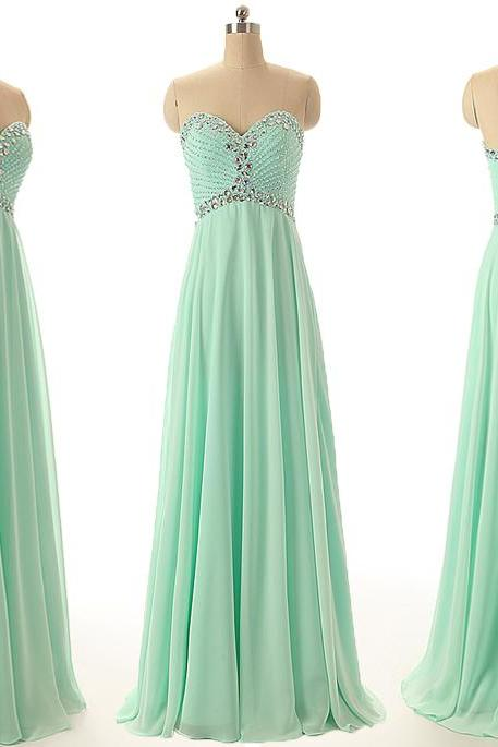 A43 Sweetheart Beaded Mint Long Chiffon Prom Gowns,Empire Floor-Length Evening Dresses,Real Photos Bridesmaid Dress