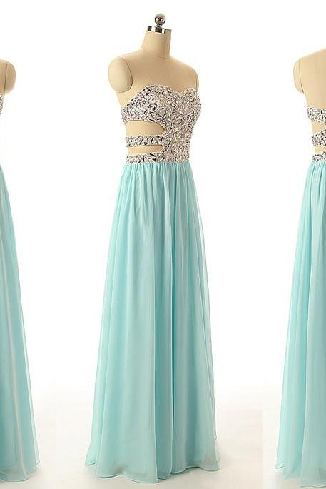 A44 Crystal Beaded A Line Long Prom Dress, Empire Real Photos Bridesmaid Dress,Light Blue Evening Gowns