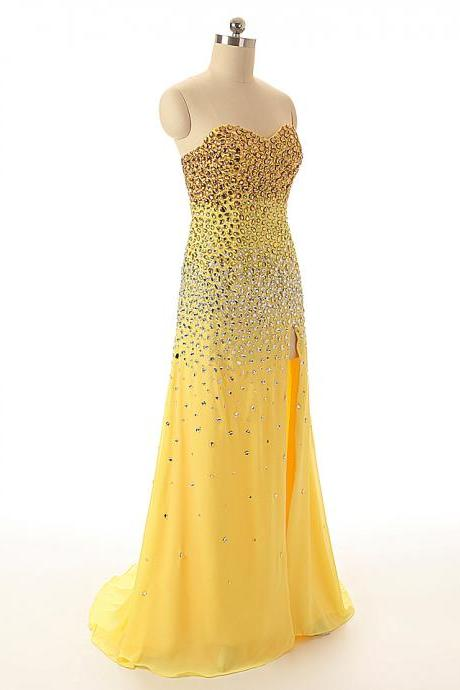 A45 Sweetheart Beaded Yellow Chiffon Long Prom Gowns,Sexy Side Slit Evening Bridesmaid Dresses