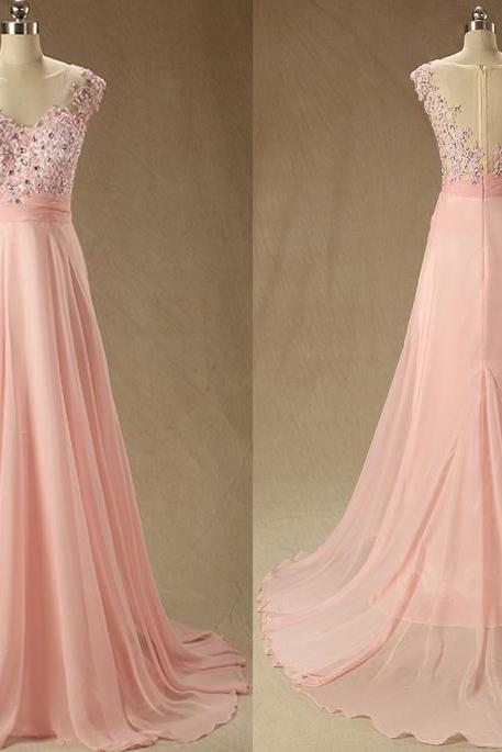 A52 Real Photos A Line Long Chiffon Prom Dress,Empire Handmaded Beaded Evening Prom Gowns,Bridesamaid Dresses