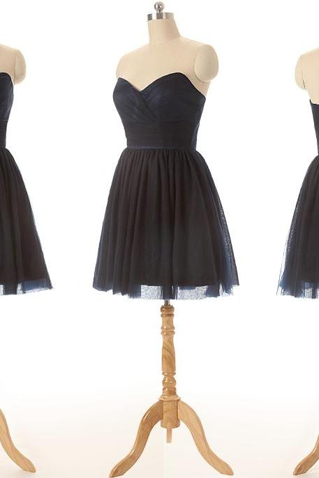 Black Tulle Sweetheart Short A-Line Tulle Bridesmaid Dress, Homecoming Dress, Cocktail Dress