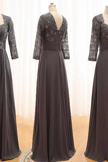 A57 Real Photos Long Chiffon Mother Of Bride Dress,Charming Prom Dress,Long Prom Dress,Empire Long Chiffon Prom Gowns
