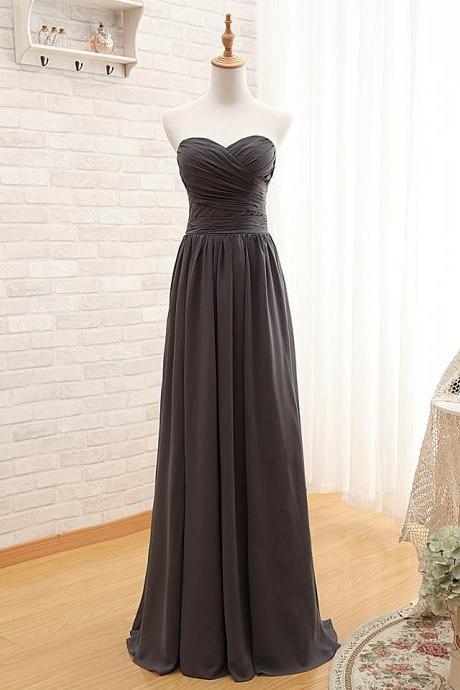 A58 Sweetheart Empire Long Chiffon Prom Gowns,Grey Long Chiffon Prom Gowns,Bridesmaid Dresses