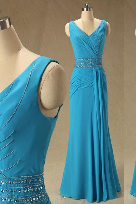A59 V Neck Blue Long Mermaid Evening Gowns,Empire Long Chiffon Bridesmaid Dress,Simple Bridesmaid Dress