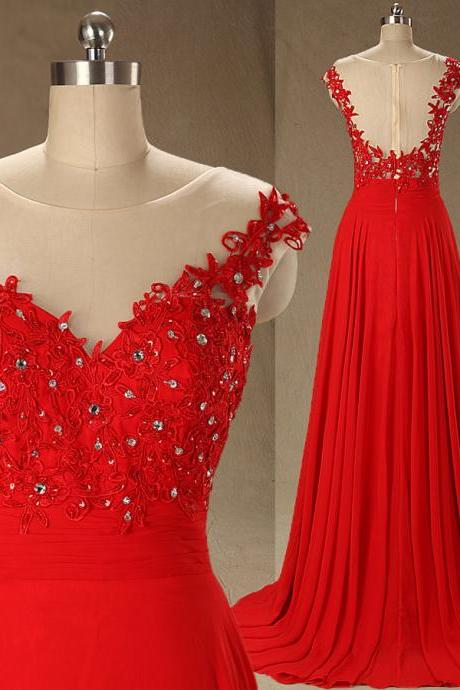A61 Scoop A Line Long Chiffon Red Prom Gowns, Handmade Beaded Lace Appliques Beaded Real Bridesmaid Dress