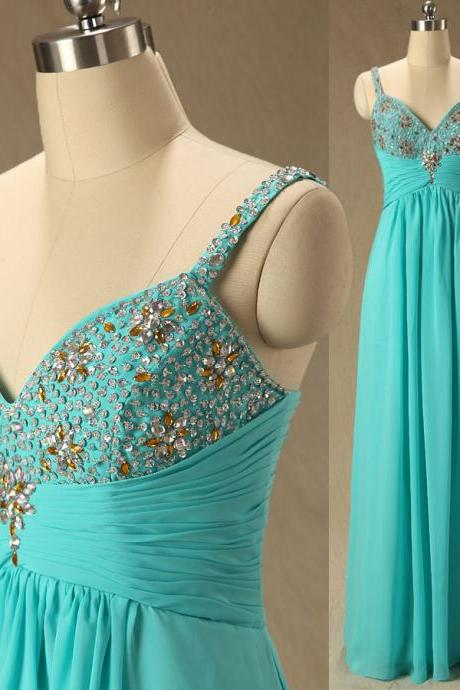 A62 Spaghetti Straps Blue Chiffon Long Bridesmaid Dress,Empire Pleat Beaded Evening Gowns, Floor-Length Prom Dresses