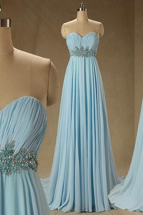 A68 Real Photos Bridesmaid Dresses,Empire Long Chiffon prom Dress, Light Blue Evening Gowens,Long Chiffon Prom Gowns