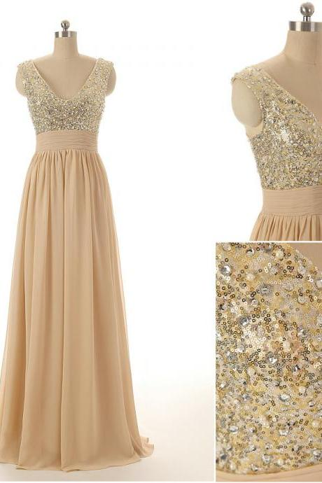A71 Tank Sequins Beaded Long Chiffon Prom Gowns,Champagne Evening Dresses,Empire Long Bridesamid Gowns