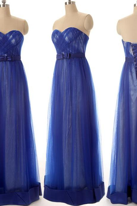 A73 Sweetheart Pleat Royal Blue Evening Gowns,Charming Lady Prom Dress,New Fashion Evening Gowns