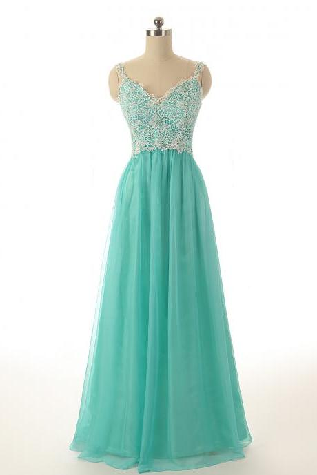 A74 Spaghetti Straps Mint Long Tulle Prom Gowns, Empire Long Bridesmaid Dresses,Lace Top Prom Dress