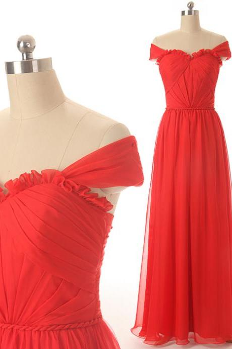A75 Off the Shoulder A Line Long Red Prom Dress,Empire Pleat Evening Dresses, Bridesmaid Dresses