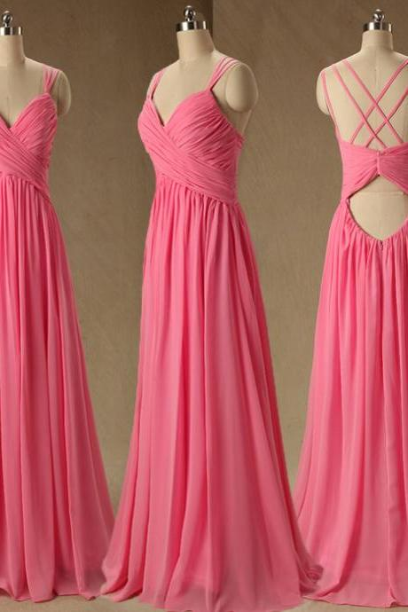 A76 Pink Long Spaghetti Straps Evening Dress,Backless Long Evening Gowns,Simple Bridesmaid Dresses