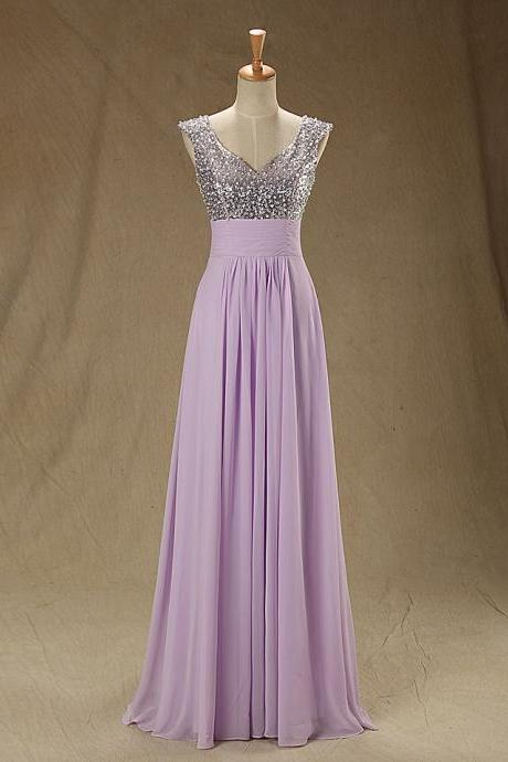 A77 Lilac Empire Prom Dress, A Line Floor-length Evening Dresses,Charming Lady Prom Gowns