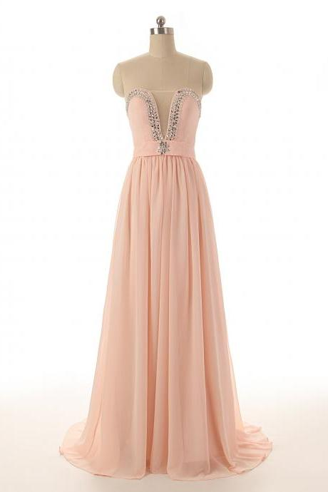 A79 Long Pink Long Chiffon Prom Gowns, Empire Bridesmaid Dresses,Charming Lady Gowns