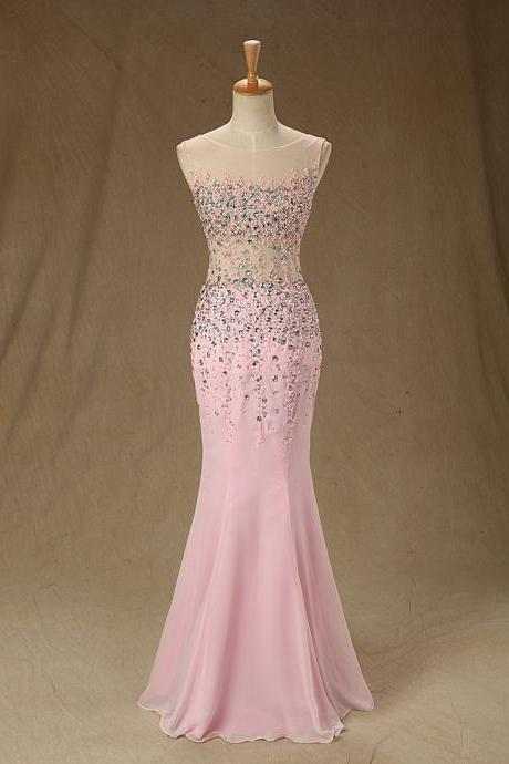 A80 Pink Long Chiffon Bridesmaid Dresses,Heavy Handmade Beaded Long Evening Gowns,Newly Evening Dresses