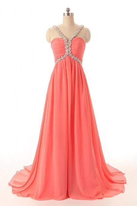 A81 Watermelon Long Chiffon Prom Dress,Empire Long Chiffon Prom Dresses,Charming Lady Prom Gowns