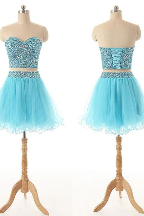 A82 Sweetheart Crystal Beaded Homecoming Dress,Short 2 Pieces Light Blue Cocktail Dress