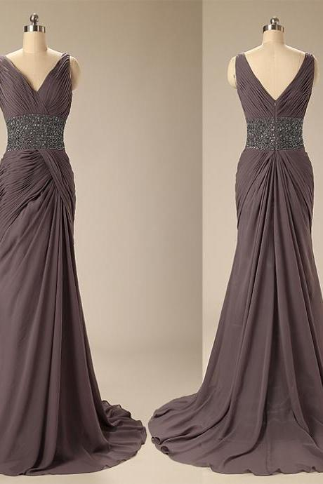 A83 Empire V Neck Long Mother Of Bride Dress,Charming Lady Prom Gowns, Wedding Pary Dresses