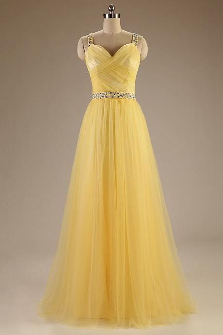 A84 Spaghetti Straps Long Tulle Evening Gowns,Charming Long Prom Dresses,Yellow Dresses