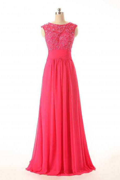 A85 Sleeveless A Line Long Chiffon Prom Gowns, Bridesmaid Dresses,Pink Chiffon Evening Dresses New Fashion