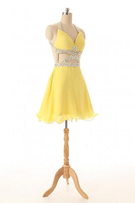 A87 Spaghetti Straps Yellow Short prom Gowns, Evening Dresses,Bridesmaid Dress Short