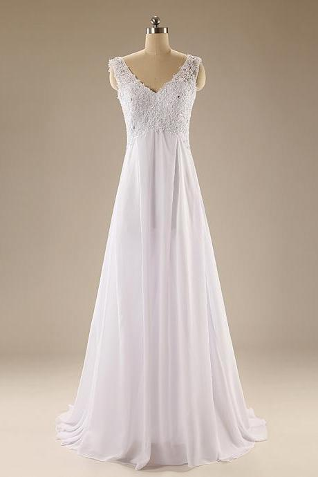A89 V Neck Sleeveless Simple Beach Wedding Dress,Real Photos Prom Gowns