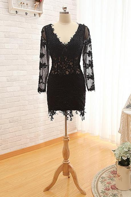 A90 Lace Long Sleeve Homecoming Dress,Mini Cocktail Dresses,V Neck Homecoming Dresses
