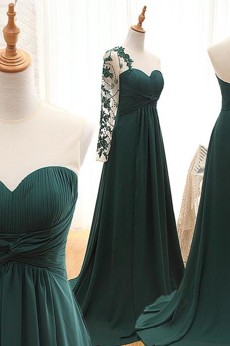 A91 Hunter Green Long Evening Gowns, Prom Dresses, Real Photos Prom Gowns, New Fashion Evening Dresses