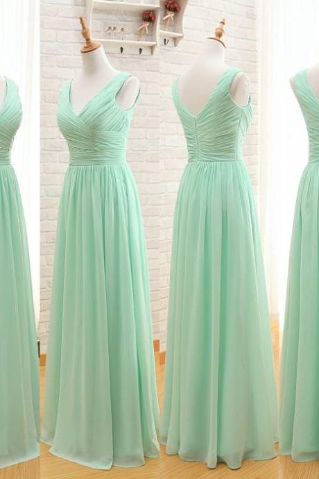 A92 V Neck Long Chiffon Prom Gowns, Mint Chiffon Evening Dresses,Floor-Length Bridesmaid Dresses