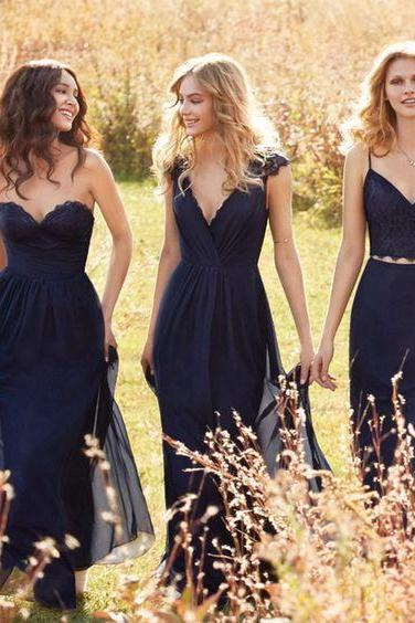 A97 V Neck Navy Blue Bridesmaid Dresses,Short Sleeves Pleats Lace Maid of Honor Dresses