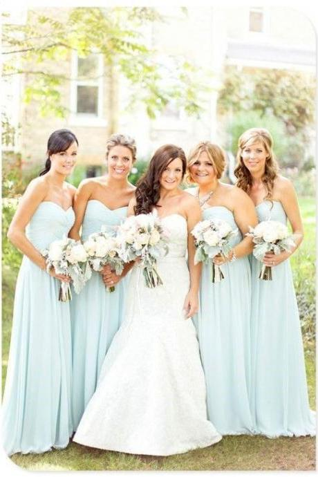 A99 a line cheap simple long chiffon pale blue bridesmaid dress,long chiffon wedding party dress