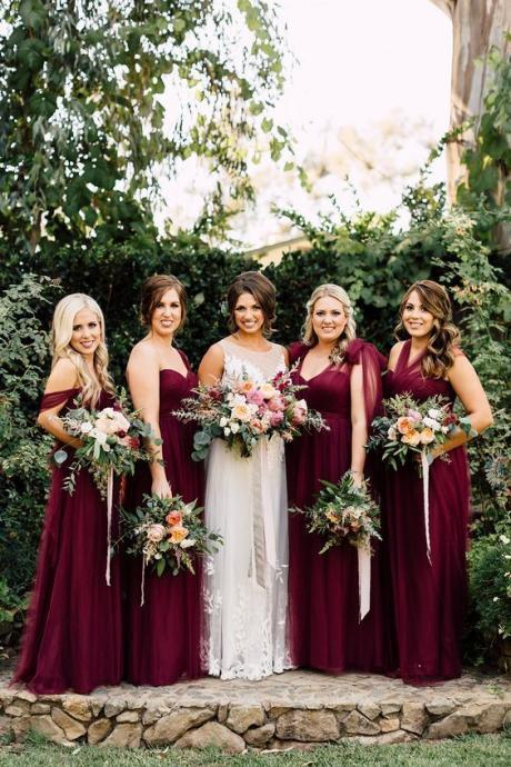 A104 A Line Tulle Red Wine Bridesmaid Dresses,Red Wine Long Tulle Wedding Party Dress