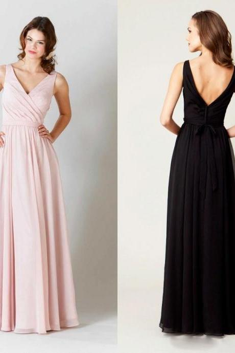 A106 A-line V-neck Chiffon Bridesmaid Dresses,Long Bridesmaid Dresses,Under 100 Bridesmaid Dresses