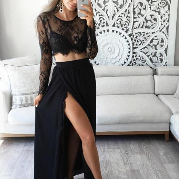 S64 Stunning Two Piece Jewel Long Sleeves Black Prom Dress with Lace Top,Prom Dress,Long Sleeve Dress,Black Lace Top Evening Dress