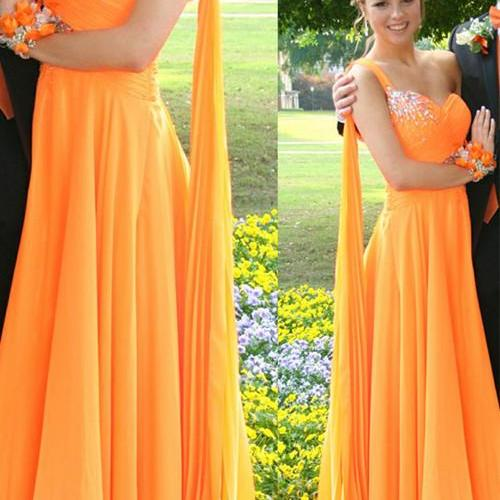 S139 Elegant Long Prom Dresses,One Shoulder Prom Dresses,Charming Orange Prom Dresses,Evening Dresses,Prom Dress,Evening Gowns