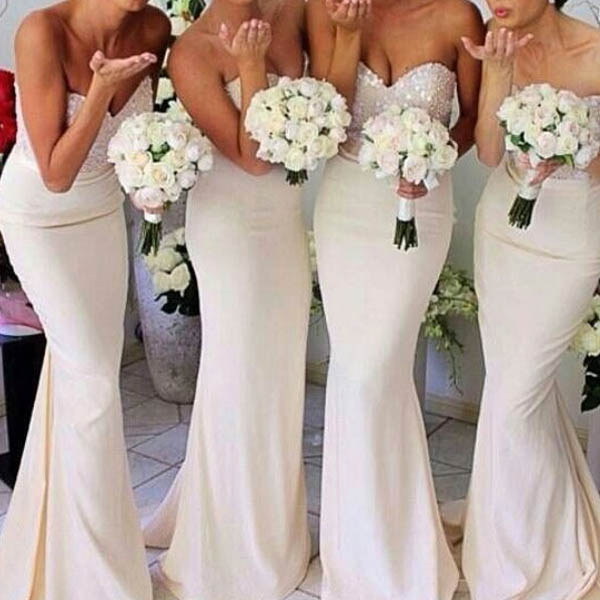 S143 Elegant Mermaid Sweetheart Sweep Train Ivory Satin Bridesmaid Dress with Sequined,Bridesmaid Dress,Sweetheart Prom Dress