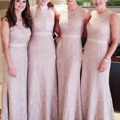 S418 Column Lace Beautiful Bridesmaid Dresses, Light Pink Bridesmaid Dresses, Lace Bridesmaid Gowns, Long Bridesmaid Dresses, Modest Bridesmaid Dresses,Bridesmaid Dress,Evening Dress