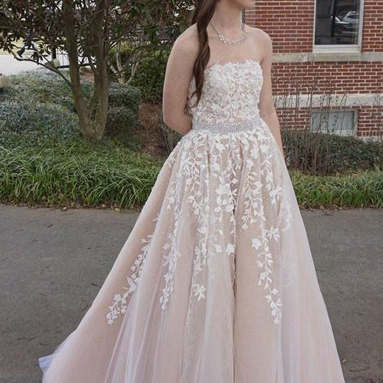 S421 Custom Made Champagne Lace Tulle Long Prom Dress, A Line Evening Dresses, Long Tulle Party Prom Dress,Long Prom Dress, Ball Gown Evening Dress,Prom Dress
