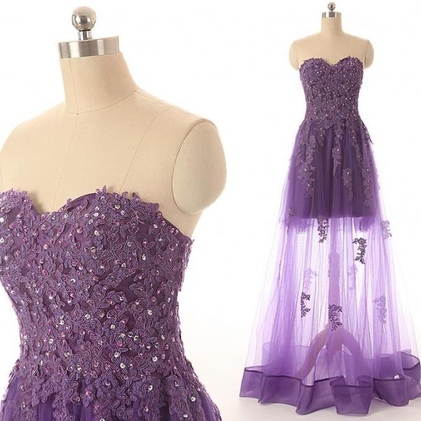 A41 Sweetheart Lace Appliques Sexy See-through Purple Tulle Evening Long Dresses