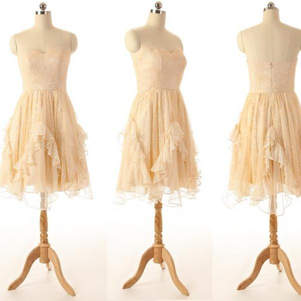 A47 Short Champagne Homecoming Dress,Cheap Tulle Short Bridesmaid Dress