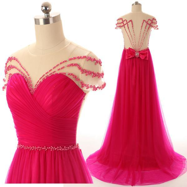 A48 Off the Shoulder Cap Sleeve A Line Long Fuchsia Tulle Evening Gowns,Real Photos Prom Dresses,Pleat Evening Gowns