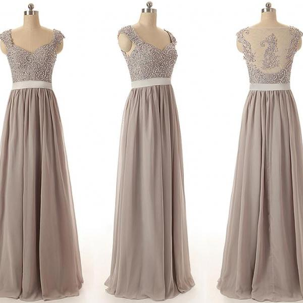 A49 Handmade Beaded A Line Long Chiffon Prom Gowns,Empire Bridesmaid Dresses Real Picture
